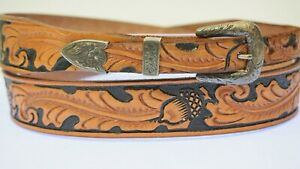 Small Vintage McCabe MCS Engraved Sterling Silver Belt Buckle Tooled 36 Acorns