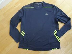 ADIDAS mens dark blue long sleeve running gym workout top SIZE XL AUTHENTIC