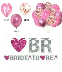 Bride To Be Pink Silver Glitter Hanging Banner Chrome Marble Confetti Balloons