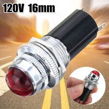 "1PC 16mm 5/8"" Red 120V AC DC LED Signal Indicator Pilot Light Bulb Hot Rod TOP"