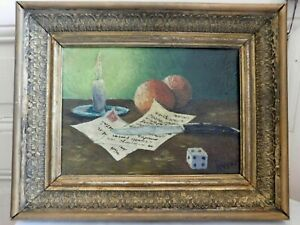 Raffaelli Xx Still Life With Candle And Choose Dice Oil on Canvas Framed