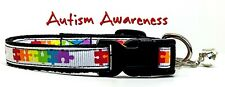 """Autism Awareness cat or small dog collar 1/2""""wide adjustable handmade Or leashes"""