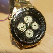 Seiko Black Gold - Green Accent Quartz Chronograph Wristwatch  7T34-6A09