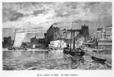 Stettin, heute Szczecin, Polen, Ansicht Lastadie, Original-Holzstich von 1884