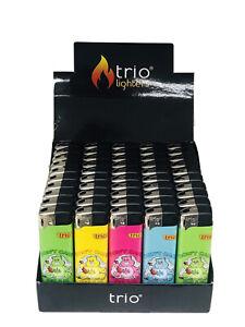 Trio Lighters Coloured Pattern Bulk 50 Display Pack