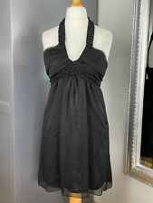 Womens Black Size 10 Lipsy Backless Dress Halter Neck Embellishments Night Out