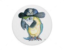 Macaw Parrot in pirate hat pin badge, 7.7cm diameter.