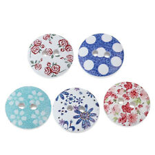 30 PRETTY WOODEN PAINTED BUTTONS 15mm  Sewing ~ Embellishment ~ Knitting  (23G)