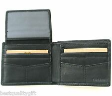 NEW FOSSIL BOUNDARY BLACK LEATHER PASSCASE TRAVELER+CLEAR ID POCKET MENS WALLET