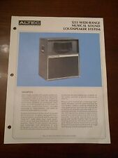 ORIGINAL ALTEC DEALER 1233 WIDE RANGE MUSICAL LOUDSPEAKER SPECIFICATION SHEET