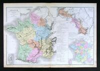 1882 Drioux Map France Culture Agriculture Rhine Basin
