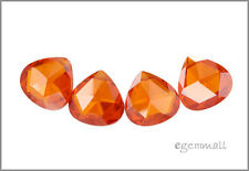 4 CZ Pear Briolette Beads 10mm Fire Opal Orange #64633