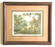 "VINTAGE COLOR PRINT ~ FRENCH HUNTING SCENE ~ ""LA CHASSE DU FAISAN"""