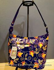 INDIA Handmade Painted Flowers Blue LEATHER Shantiniketan Bag Handbag Hobo