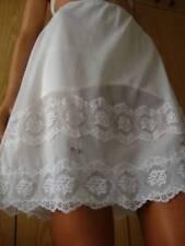 Stunning Vtg 1960s Val-Hau White Sheer Nylon Deep Lace Short Half Slip Petticoat