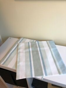 TWO LAURA ASHLEY HANDMADE CUSHION COVERS IN AWNING STRIPE DUCK EGG/LINEN