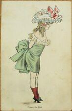 Risque 1908 Postcard: Nude/Topless Woman w/Breasts, 'Fraises des Bois'