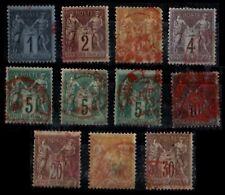 Cachet Rouge sur 11 Types SAGE = Cote 260 € / Lot Classiques France