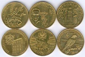 Polen Lot 6x 2 Zloty verschiedene Motive vz bis vz/st