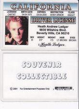 Heath Ledger star actor JOKER in BATMAN California  Drivers License fake id card