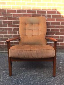 Vintage CINTIQUE Teak Armchair Chair Mustard Yellow Gold Mid Century Retro