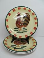 """Baum Bros Style Eyes Red Check Rooster Set Of Three 10 3/4""""  Dinner Plates  EUC"""