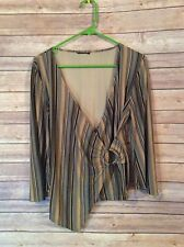 Women's Tagless Striped Deep V-neck High Low L/S Rayon Blend Blouse Size Medium