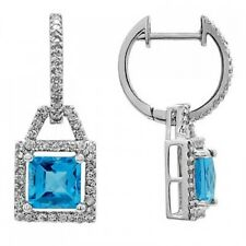 14K WHITE GOLD PAVE DIAMOND PRINCESS CUT BLUE TOPAZ HALO DROP DANGLING EARRINGS