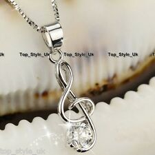 925 Sterling Silver Treble Clef Music Note Cz Pendant Necklace Girlfriend Gift