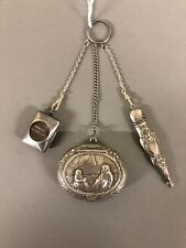Antique Sterling Silver 3 Pc Chatelaine Pencil Dictionary Pill/Snuff box