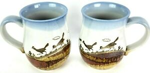 Road Runner Pottery Coffee Cups Mugs Pair Set SO MANY Road Runner Birds Glazed