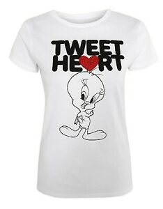 Looney Tunes - Tweety Pie - Embellished Heart -  Ladies tight fit t shirts