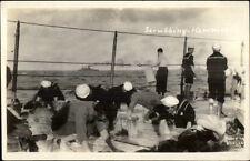 WWI US Navy Sailors Aboard Ship Scrubbing Hammocks Real Photo Postcard