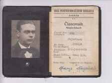 Very rarre membership card - Mitgliedsbuch - Kingdom of Yugoslavia Croatia 1937