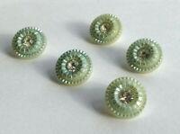 Vintage set sewing buttons rhinestones retro green plastic mid century