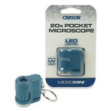 Carson MicroMini MM-280 MM280 20X Pocket LED lighted microscope (Blue) magnifier