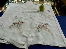 Vintage Homespun Linen Tablecloth French Bullion Knot Embroidered Bridal Baskets