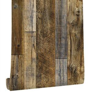 6m Rustic Wood Panel Effect Wallpaper Self Adhesive Vinyl Wrap Furniture Film