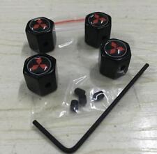 1Set Black Anti-theft Car Valve Stems Caps Tire Dust Covers Logo For Mitsubishi