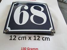 Hausnummer Nr. 68 weisse Zahl auf blauem Hintergrund 12 cm x 12 cm Emaille Neu