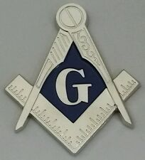 New Freemason Masonic Square and Compass Mini Car Emblem Silver & Blue Tone