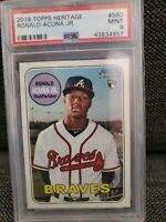 2018 Ronald Acuna Jr. #580 Topps Heritage Rookie Card RC PSA 9  MINT