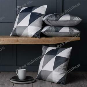 Set of 4 Grey & White Geometric Design Super Soft 18 inch Cushion Covers
