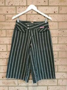 Black w/ White Pinstripe Shorts, Culottes, 3 Pockets, Ladies 8, 'Tightrope'