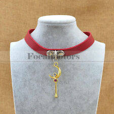 Sailor Moon Tsukino Usagi Necklace Collar Choker Cosplay Neck Ring Red PuLeather