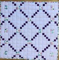 """Baby Quilt Handmade Girls Purple Irish Chain Patchwork Crib Blanket 42""""x42"""" NEW"""