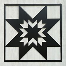 "Barn Quilt - black Metal 12"" x 12"" Quilt Block Sign Lone Star Pattern"