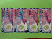 Hong Kong 10 Dollar Polymer 2007 (UNC),  4pcs Same Number 834134, Free Stamp