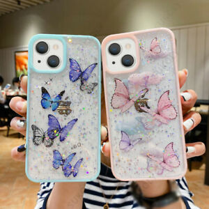 For iPhone 13 12 11 Pro Max XR XS 7 8 Glitter Butterfly Clear Soft Case Cover