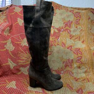 REED KRAKOFF Knee High BOOTS Brown Suede Heel Shoes Women's Size EU 38 1/2